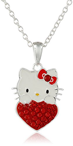 Hello Kitty Girls July Crystal Birthstone Heart Pendant Necklace, 18