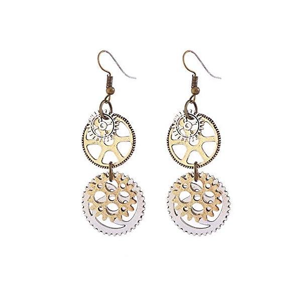 Steampunk Gears Clock Circle Earrings Vintage Personalized Gold Silver jewelry machine parts Women Ear Hook 5