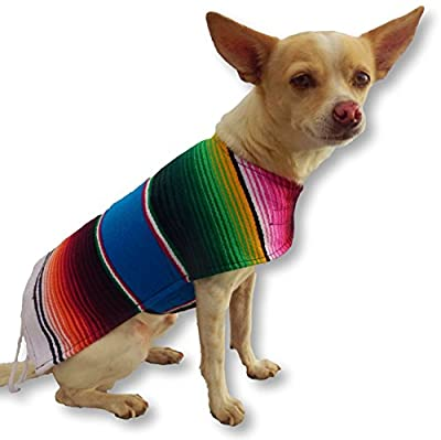 Handmade Dog Poncho from Authentic Mexican Blanket - Dog Clothes - Sweater - Coat