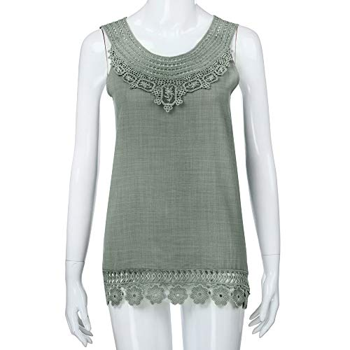 iYBUIA Women O-Neck Sleeveless Pure Color Lace Plus Size Vest Loose T-Shirt Blouse with Hollow Hem Green by iYBUIA (Image #2)