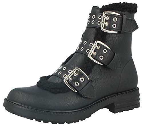 Ankle Ladies Leather Faux Warm Faux Fur Comfort Krush Biker Triple Buckle Lined Boots Black PqdEwnx