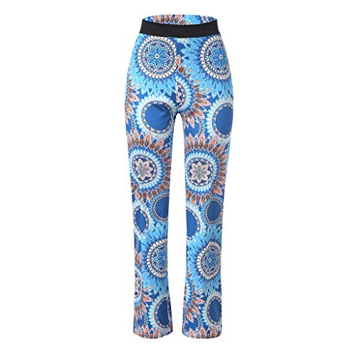 Pervobs Women Summer Casual Boho Floral Printing High Waist Wide Leg Pants Holiday Daily Loose Leggings Trouser(M, Blue) by Pervobs Women Pants (Image #7)