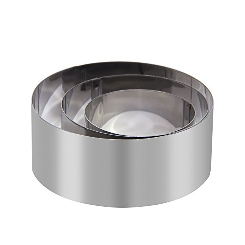EDOBLUE Mousse Rings Stainless Steel 3in1 Small Cake Rings Mousse Cake Rings Mousse and Pastry Mini Baking Ring Mold