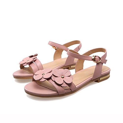 Sandali Open Toe Con Fibbia In Pelle Di Vitello Pieno Fiore Allhqfashion Rosa