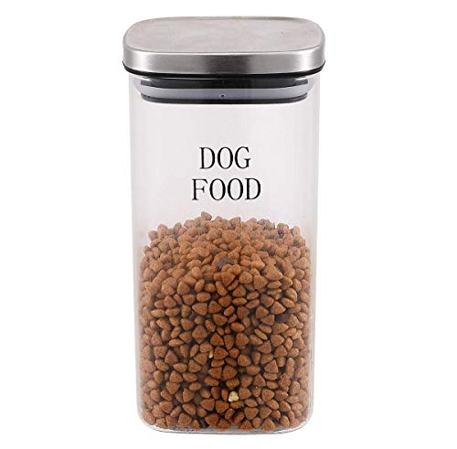 Morezi Dog Treat and Food Storage Tin – Clear Glass – Tight Fitting Steel Lids – 1.4L Storage Canister Tins