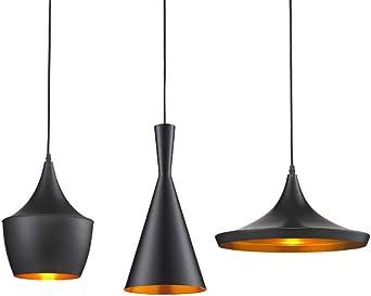 2xHängeleuchte Metall Industrie Deckenleuchte Leuchte Pendelleuchte schwarz-gold