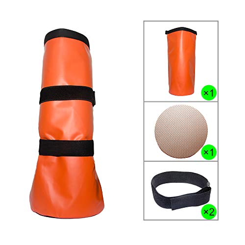 Less Side Horse Hoof Soaking Bag Poultice Boot Equine Hoof Soaker Hoof Soak Bag for Hot or Cold Soaking Hooves Comes with EVA Pad and Self-Stick Straps (Orange)