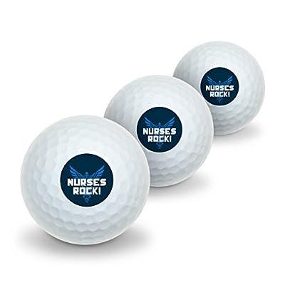 Nurses Rock RN Caduceus Staff of Hermes Novelty Golf Balls 3 Pack