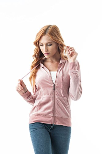 Khanomak Women's Velvet Velour Long Sleeve Drawstring Hoodie Front Pockets Sweater Jacket (Medium, Mauve) ()