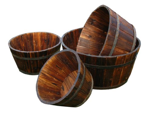 Shine Company Round Shallow Cedar Barrel Set of 4, Burnt Brown by Shine Company Inc.