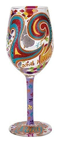 Lolita 29 and Holding Artisan Hand Painted Wine Glass Designer Hand Painted Boxes