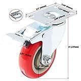 4 Pack Caster Wheels Swivel Plate Stem Brake