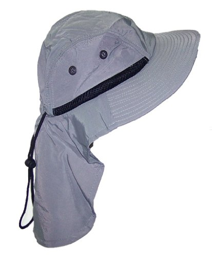 (JFH Group Men/Women Wide Brim Summer Hat with Neck Flap (One Size) - Gray)