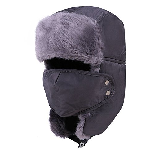 Winter fur hats Windproof Thick warm winter snow women cap Face Mask men's cycling hat Russian Earflap Bomber hat (Color Dark Gray)