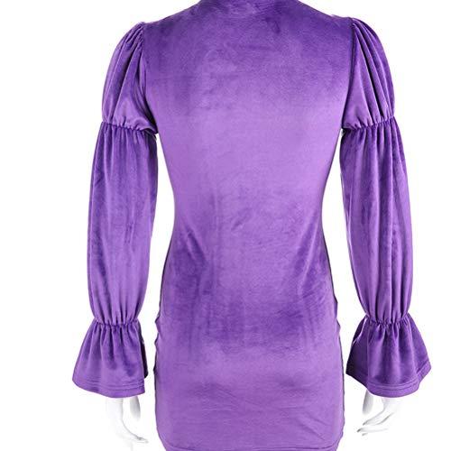 Con Purple Sexy In A Corto Stile Corte Arricciato Cinese Asola Maniche Dfgthrthrt Abito Tunica ED2H9WI