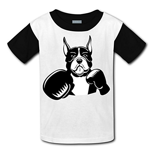 CODOIT Boxing Boxer Cartoon Short Sleeve Crew Neck T-Shirt for Boys L