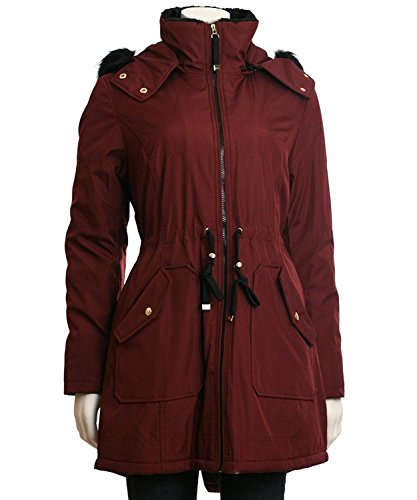 Jessica Simpson Soft Shell Hooded Coat with Faux Fur Trim, Large (Coat Side Wool Slit)