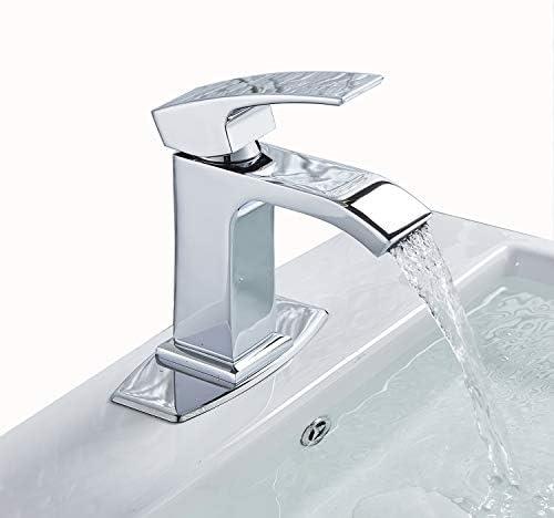 Senlesen Chrome Waterfall Bathroom Faucet Single Handle One Hole Deck Mount Lavatory with 6 inch Centerset Deck Plate Escutcheon
