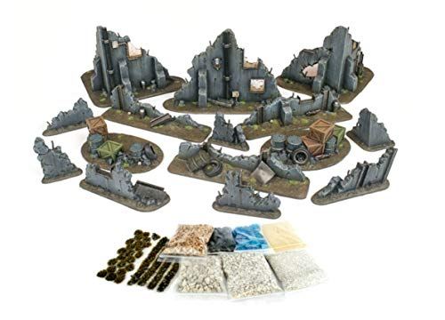 WWG War Torn City - Ruined Buildings, Barricades and Rubble Set with Scenery Materials - 28mm Terrain Warhammer Scenery 40K