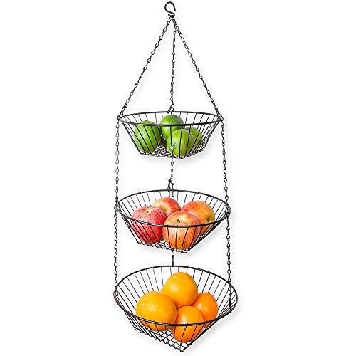 Home Basics 3-Tier Wire Hanging Basket, Black