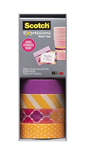 Scotch Expressions Washi Tape, Multi-Pack with Storage Box Stripes, Dots and Sunset, 4 Rolls (C317-4PK-STRP)