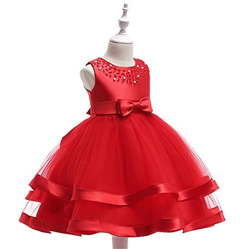 Tulle Princesse Weonedream Robes De Soirée De Mariage Robe Pageant Fille Tutu Âge 3-9 Ans Rouge