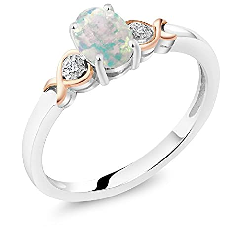 925 Sterling Silver and 10K Rose Gold Ring White Opal with Diamond Accent (0.63 cttw, Available in size (Promise Ring Size 5 White Gold)