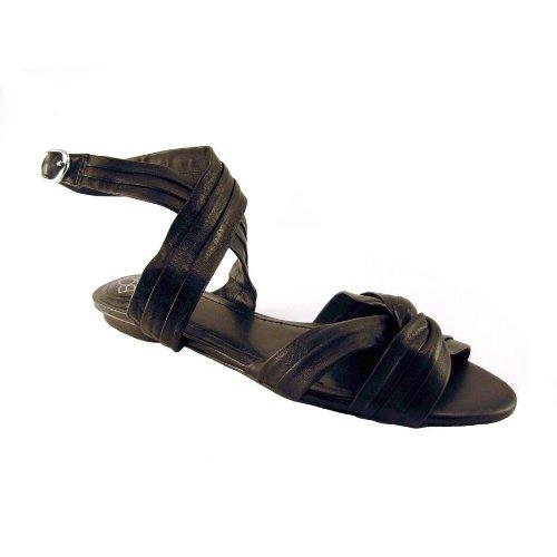 BCBGeneration Women's Darnell Flat Casual Sandal,Black Nappa,8.5 M US