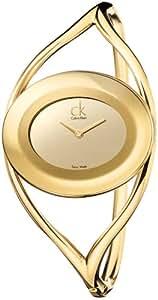 Calvin Klein Delight K1A23809 - Reloj de mujer de cuarzo, correa de acero inoxidable color oro