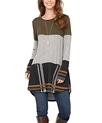 Lillusory Womens Striped Color Block Casual Tops Long Sleeve Plaid Tunic Dress T-Shirt Blouse