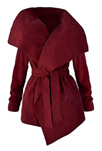 Confortevole Donna Cintura Rot Laterali Lunga Tasche Coat Monocromo Inclusa Giacca Casual Trench Di Moda Ragazza Chic Parka Vento Bavero Manica Invernali ZwZvqgr