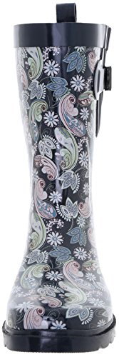 Boot Ornate Printed Mid York Capelli Paisley Rain Ladies Multi Combo Calf Rubber Navy New xnwaqqYHp