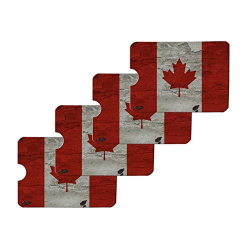 Rustic Distressed Canada Flag on Wood Credit Card RFID Blocker Holder Protector Wallet Purse Sleeves Set of 4