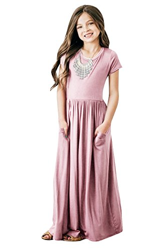 Girls Dresses Short Sleeve Holiday Casual Summer Swing Long Maxi Dress with Pockets (9-10years/Height:51in, Pink)
