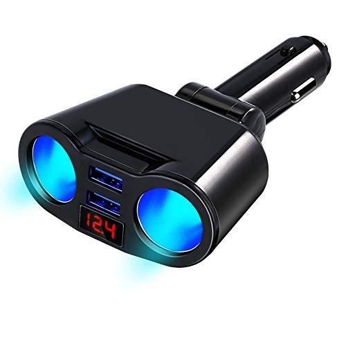 ROPALIA Digital Dual USB Charger Socket Adapter Rotating car Smart Charging Solid Adapter
