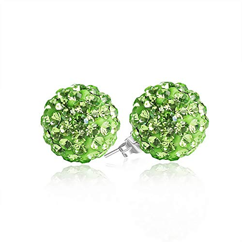BAYUEBA 925 Sterling Silver Crystal Ball Stud Earrings 8mm Light Green