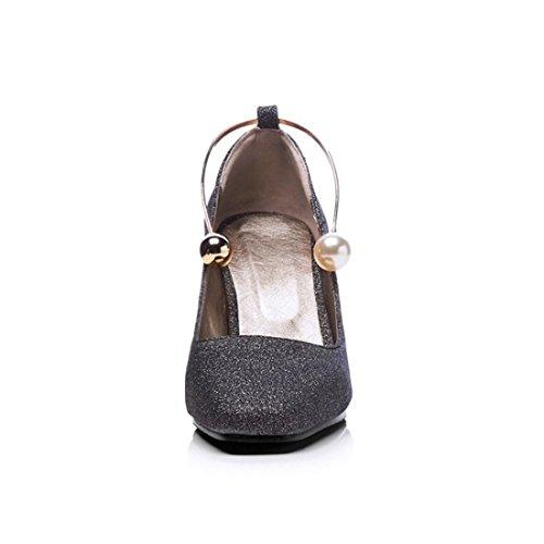 de Zapatos Número y la Negrita Mate Europa un de Primavera Otoño Talón Tacón en el Zapatos Durante con Unidos Alto la luz Gran los Zapatos black de Estados ASavArwnxq