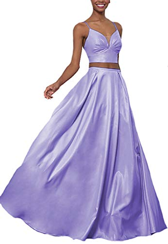 Lilyla Long Prom Dresses Two Piece A-Line V-Neck Satin Evening Party Gowns with Pockets Lavender US18W -