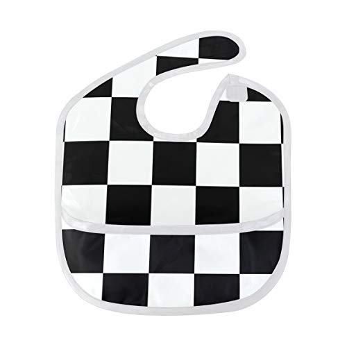 Black And White Checkered Baby Bibs Waterproof, Washable, Stain and Odor Resistant for Boys Girls