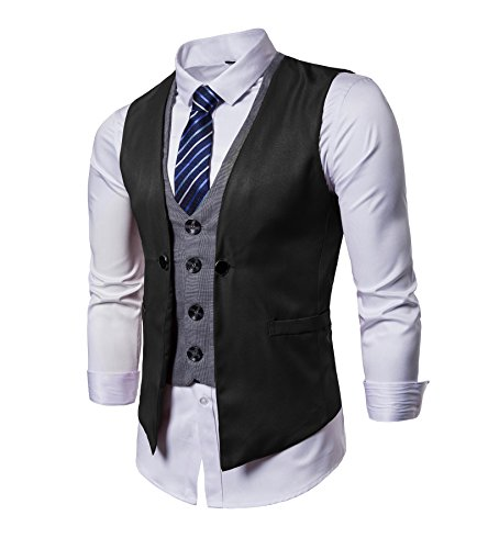 AOYOG Mens Business Suit Vests Waistcoat Slim Fit for Suit Or Tuxedo, Black2, ()