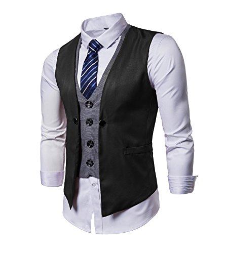 AOYOG Mens Business Suit Vests Waistcoat Slim Fit for Suit Or Tuxedo, Black2, Medium