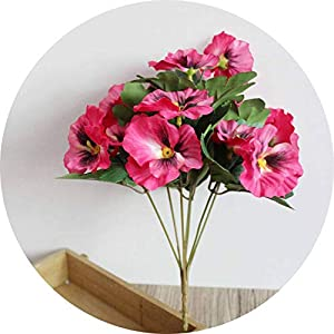 Li-Never Party Table Pansy Fake Office Desk Artificial Flowers Simulation Plant Wedding Home Hotel Decor Ornament Bouquet,Rose Red 83
