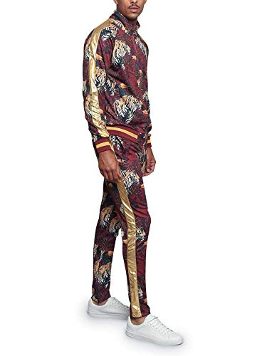 G-Style USA Royal Floral Tiger Track Suit ST559 - Burgundy - 2X-Large - E4F