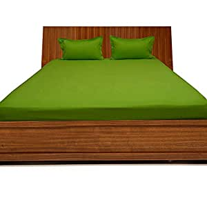 Brightlinen Parrot Green Double (135 X 190 Cm) Fitted Sheet Solid(pocket Size: 34 Cm) 3pcs