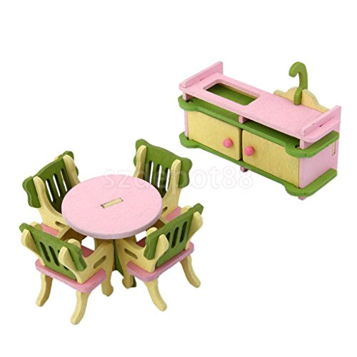 Shalleen 6pcs Wooden Doll House Furniture Dinning Room Set Kids Role Pretend Play Toy (Japanese Candy Making Kit Usa)