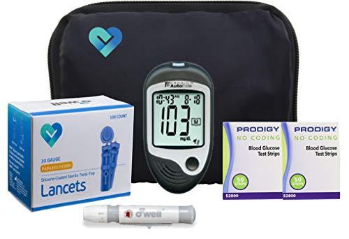 tes Testing Kit | Prodigy TALKING Blood Glucose Meter, 100 Prodigy Blood Glucose Test Strips, 100 Lancets, Lancing Device, Log Book, User Manuals & Carry Case ()