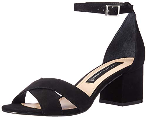 STEVEN by Steve Madden Women's Ilka Heeled Sandal, Black Nubuck, 9 M US ()