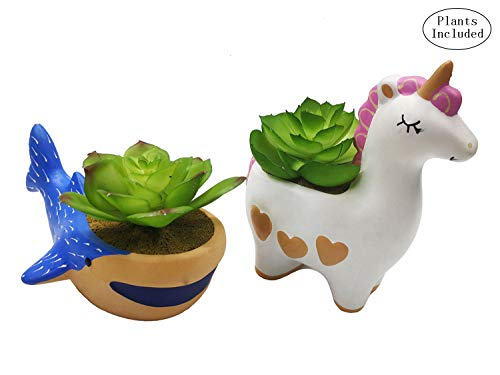 JIUCHEN Assorted Set of 2 Animal Planters and Artificial Succulent Plants, Fake Succulent Plants, Indoor Home Garden Office Table Desktop Decoration,Unicorn Whale Living Room Decor