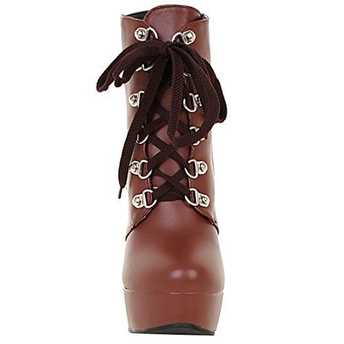 AIYOUMEI Damen Plateau Kurzscchaft Stiefel mit Schnalle und Schnürung Dicker Absatz High Heels Schnürstiefeletten Schuhe Braun