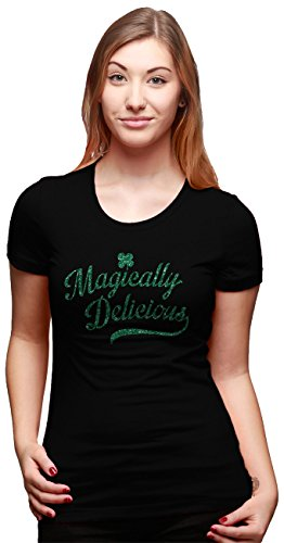 Crazy Dog T-Shirts Womens Magically Delicious ST. Patrick's Day T Shirt With Green Glitter Ink (Black) (Ink Green T-shirt)